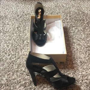 Black Leather T-Strap